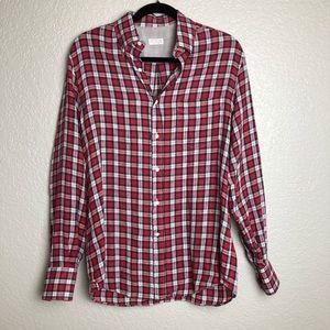 Brunello Cucinelli 100% Linen Plaid Shirt M